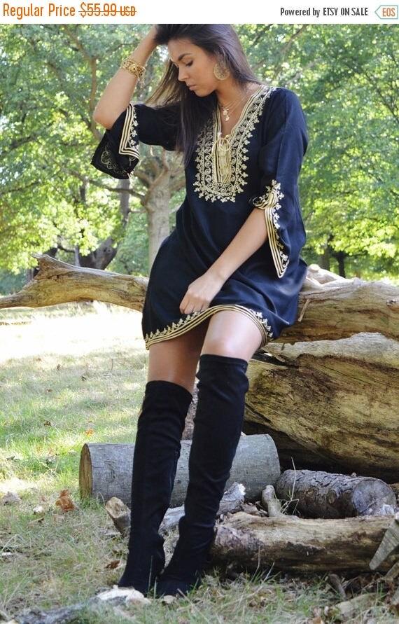 KAFTAN 20% SALE/ Black Tunic Dress with Gold Embroidery Marrakech Boho Tunic - Perfect as Casual wear, loungewear, resortwear, bohemian wear
