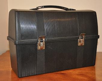 Vintage Alladdin Black Plastic Lunch Box