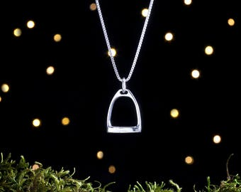 Sterling Silver 3D Stirrup - Double Sided - (Charm or Necklace)