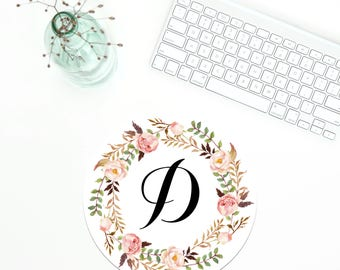 Monogram Mouse Pad,  Floral Wreath Mousepad, Personalized Mousepad, Monogramed Mouse Mat, Floral Wreath Mouse Pad, Office Coworker gift