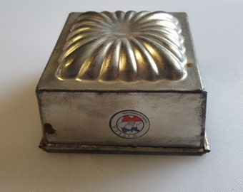 Vintage Matfer French Square Tin Steel  Ice Cream Mold - 4-1/4 inches