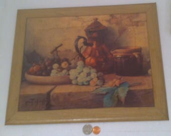 Vintage 1950's Photo, Art, Winde Fine Prints, 11 x 14, Still Life with Grapes, By Chailloux, Home Decor, Wall Hanging, Home Decoration