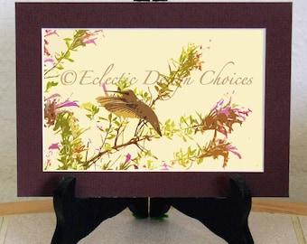 Hummingbird Photographic Art Print - Your Choice, Matted Print, Bird Wall Art, Woodland Nature Print, Altered Hummingbird Photo