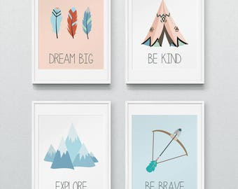 Tribal Nursery, Tribal Prints, Nursery Wall Art, Boho tribal nursery, Nursery Prints, Nursery Decor - Dream Big/Explore/Be Brave/Be Kind