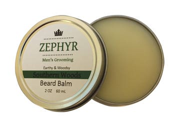 Southern Woods Beard Balm - Earthy & Woodsy Natural Smell - 2 Oz by Zephyr Men's Grooming