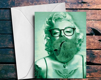 Blank Card Hipster Marilyn Monroe Card Blank Inside on Paper Canvas 5x7 Greeting Card with Envelope
