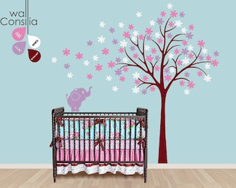 """Baby Nursery Wall Decals - Tree Wall Decal - Elephant Decal - Large: approx 87"""" x 82"""" - K035"""