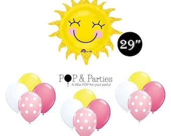 You are my Sunshine Balloon bouquet 13pc, Sun Balloon, You are my Sunshine Birthday, Sunshine Party, Girl Sunshine Birthday Party Decoration