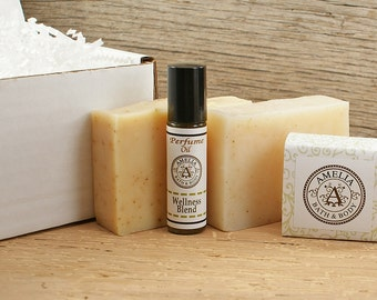 Natural Gift Set | Three Natural Soaps and Wellness Oil Blend | Natural Bath and Body Products | You Choose Two of the Natural Soaps