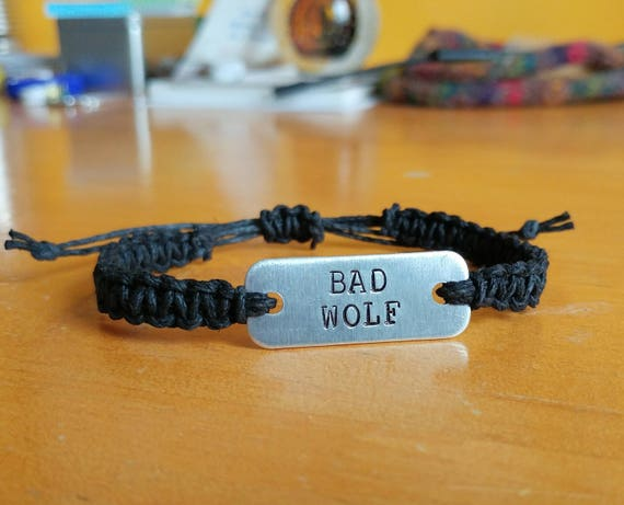 bad wolf stamped bracelet // adjustable hemp bracelet
