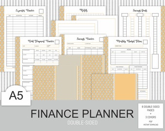 Finance planner A5 Printable Budget Debt Bill Payment Log Savings Tracker Saving Goal Small Business Instant Download PDF