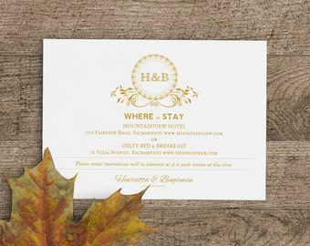 Printable Wedding Accommodation Card Template in Classic Gold Monogram