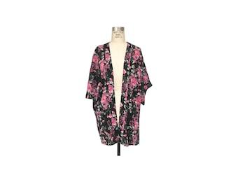 Cherry Blossom Floral Chiffon Kimono Cover Up