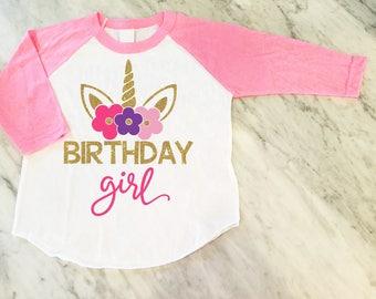 Unicorn Birthday Girl Shirt, Gold Glitter Unicorn Shirt, Unicorn Theme Birthday Party, Girls Birthday Shirt