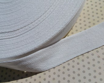 "Twill White Cotton Trim Tape - Sewing Bunting Banners Shipping Packaging - 1"" Wide -  20 Yards"