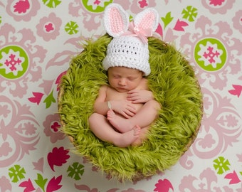 Newborn Bunny Hat, Easter Bunny Hat, Newborn Photo Prop, Newborn Easter Prop, Baby Bunny Hat, Crochet Bunny Hat, Pink And White Hat,Girl Hat