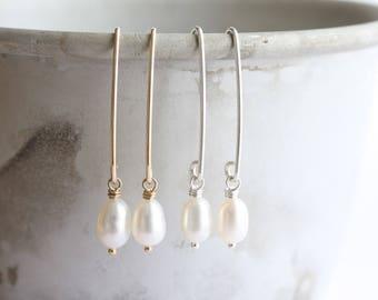 Pearl earrings - simple white freshwater pearl long drop earrings in gold or silver - Bridal earrings, June birthstone, gift for her