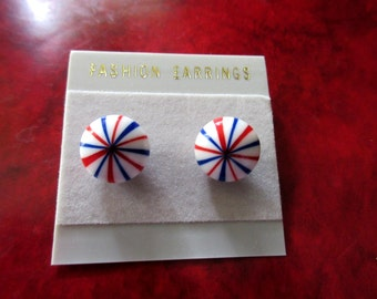 Mod Lucite Red White Blue Vintage Earrings Original Card Never Worn Protest Patriotic 4th of July Vintage Costume Jewelry MoonlightMartini