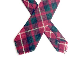 Vintage 1940s 1950s Wool Tie / Plaid Woven Tie / 1940's 1950's / Fringe Tie / Hand Woven Tie
