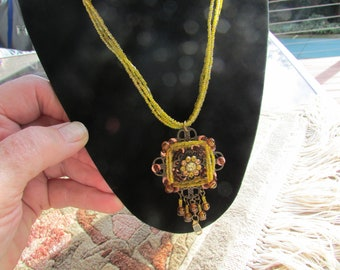 Laurie Stunning Vintage 80's  Designer Statement Necklace Sunshine Yellow and Topaz