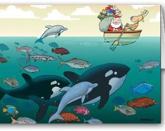 Santa and Some Ocean Friends Holiday Card - 18 Cards & Envelopes - KX44