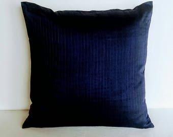 Navy blue throw pillow.  Decorative navy blue silk pillow. Solid banaras silk throw pillow cover. 16,18,20 inchs cushion covers custom made
