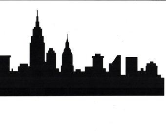 Large NYC Skyline no windows silhouette (6)