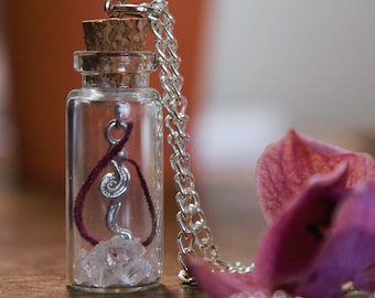 Bottle Necklace with Swirl Charm