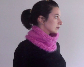 pink knit cowl, peony pink scarf, knit wool cowl, pink cowl scarf, knit circle scarf, small knit cowl, wool neckwarmer, pink infinity scarf