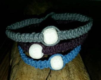 Hemp Bracelet with Lava Rock Bead, Lava Rock Essential Oil Diffuser Bracelet