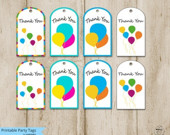 birthday tags-printable thank you tags templates,printable thank you tags for birthdays-- Party card,favor tags, party supplies