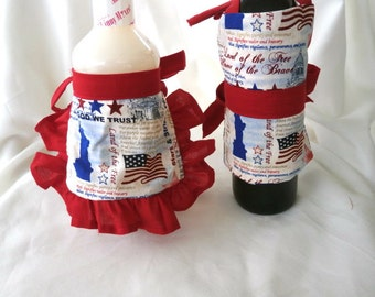 July 4th Apron Wine Cover ( His and Hers)