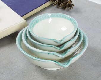 Nesting Ceramic bowls set of 4 Measuring Cups White Aqua green lips Handmade Prep Bowls Kitchen Hostess Gifts Home Decor Handmade Pottery