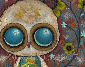 Owl Art Print, Nursery Art, Whimsical, Mixed Media, Flowers, Children's Wall Art, Collage, Bird, Big Eyes, Woodland, Kids Room Decor, Square