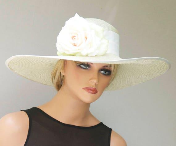 Wedding Hat, Church Hat, Formal Straw Hat, Wide Brim Hat, Ascot Hat, Dressy Hat, Tea Party Hat, Garden Party Hat