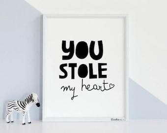 Stole My Heart Art Etsy