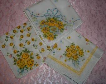 Estate;Three Cotton Floral Hanky Handkercief