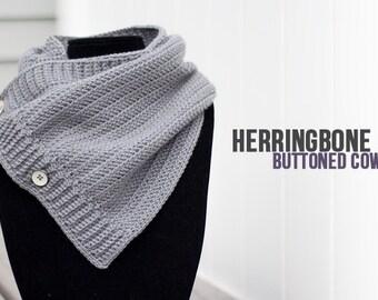 Herringbone Buttoned Cowl Crochet Pattern PDF (The Herringbone Button Crochet Cowl Pattern by Little Monkeys Crochet) Cowl Crochet Pattern