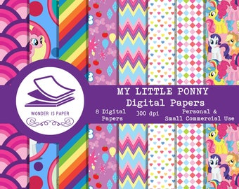 My Little Ponny Digital Papers - 8 Designs 12x12in, 30x30 cm - Ready to Print - High Quality