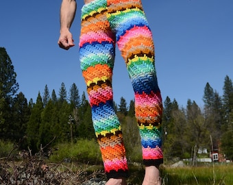 Crochet Pants Rainbow Stripes