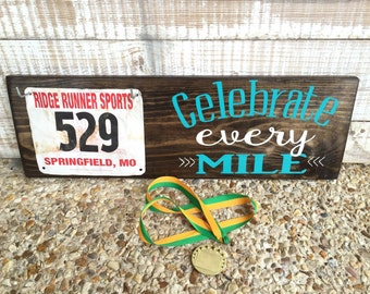 Great gift for runners! Race Medal Hanger & Race Bib Holder - marathons - triathlons- iron man - Father's Day
