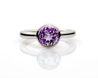 Amethyst ring, Engagement ring, rose gold ring, custom engagement,  Purple, Amethyst Engagement, february Birthstone, bezel, solitaire