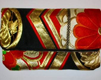 Gold Floral Hexagons Two-way Fold Over Obi Silk Clutch Purse