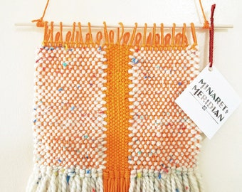 Handmade Wall Weaving - Bright Orange and Cream with rainbow flecks - Woven Wall Hanging - Nursery Bedroom Living Room decor