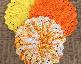 Hand knit cotton face cloth or wash clolth in bright summer colors