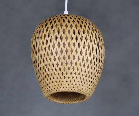 Double lamp shade hand woven from bamboo pendant lamp one e27 aloadofball Gallery