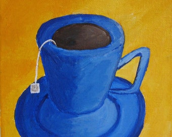 Cobalt Tea Mug Against Mustard Background Original Painting