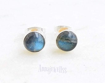 Labradorite Stud Earrings ... 6mm Labradorite Studs .. Labradorite Earrings .. Handmade Jewelry