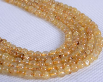 4mm326 4mm Natural Gold rutilated quartz crystal round loose gemstone beads 15.5""