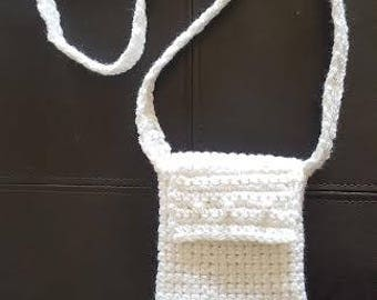 """White Crochet Cellphone bag decorated with Buttons 4 1/4"""" X 7 1/2"""""""